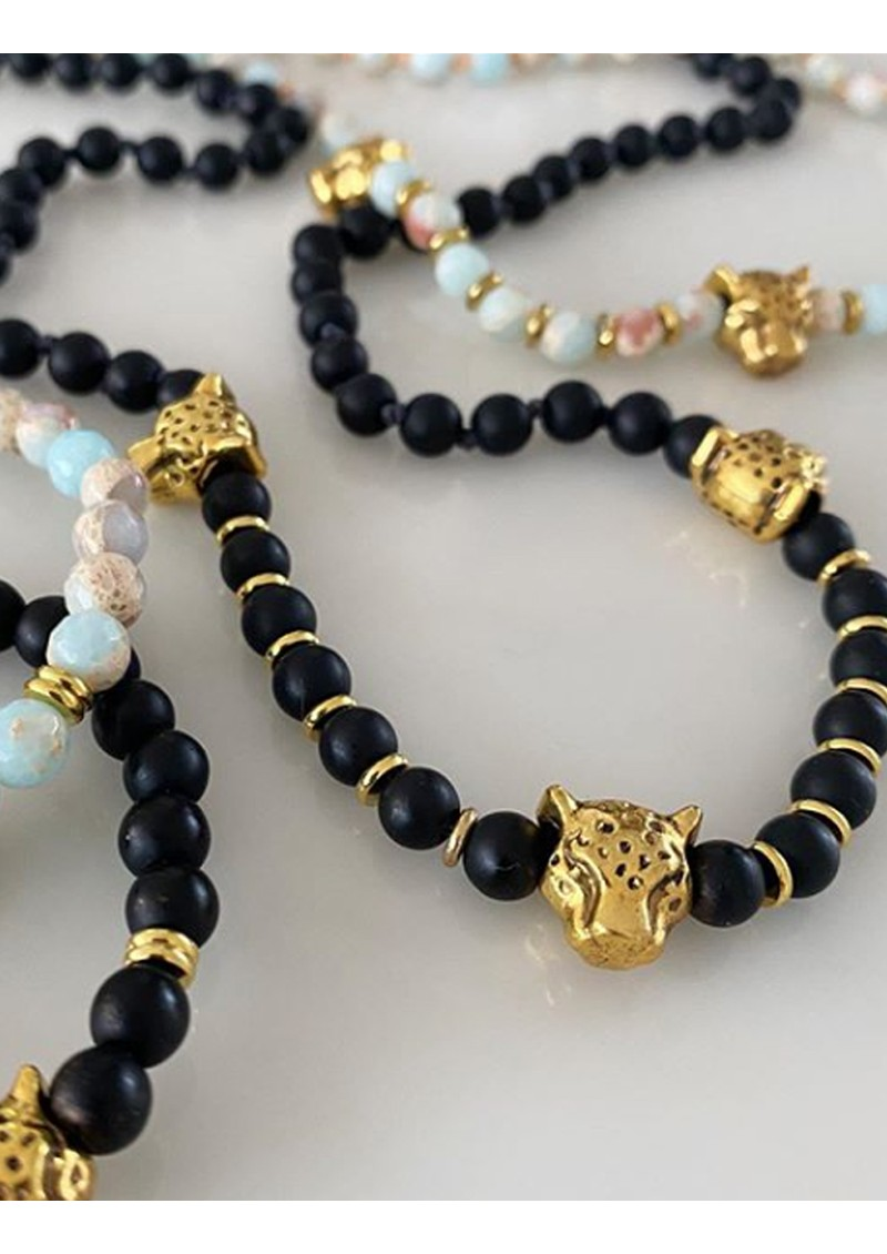 TRIBE + FABLE Leopard Beaded Necklace - Black Onyx main image