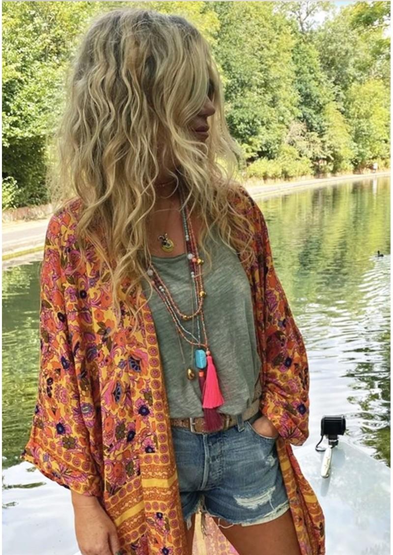 TRIBE + FABLE Single Tassel Necklace - Papaya, Pink & Orange main image