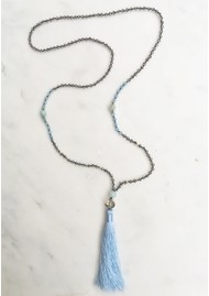 TRIBE + FABLE Single Tassel Necklace - Light Blue & Grey Crystal
