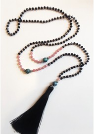 TRIBE + FABLE Single Tassel Necklace - Black, Pink & Turquoise