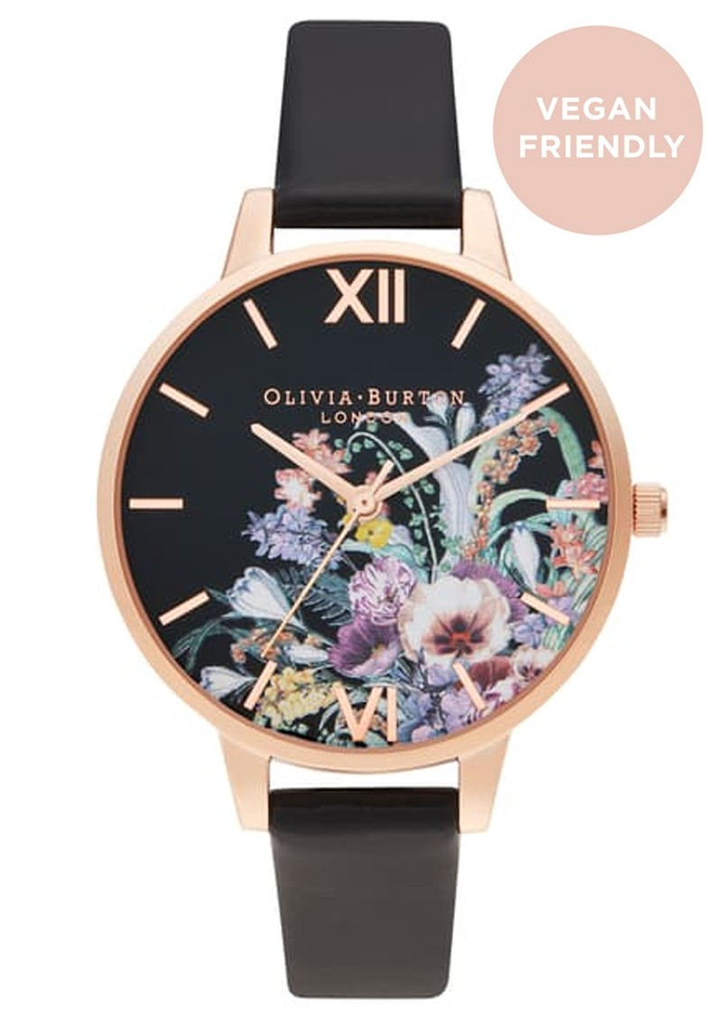 Olivia Burton Vegan Friendly Enchanted Garden Watch - Black & Rose Gold main image