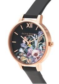 Olivia Burton Vegan Friendly Enchanted Garden Watch - Black & Rose Gold