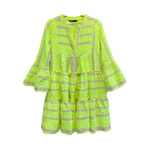 Ella Short Cotton Dress - Grey & Lime