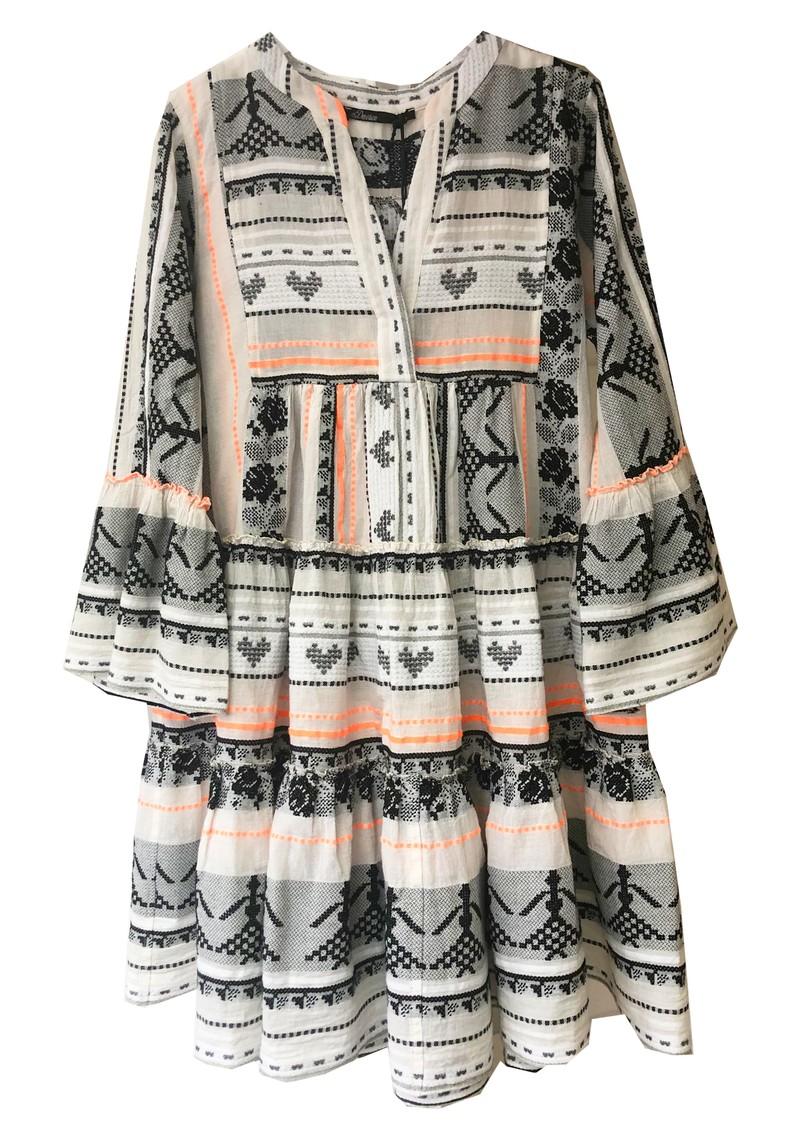 DEVOTION Short Embroidered Cotton Dress - Off White & Orange main image