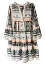 DEVOTION Short Embroidered Cotton Dress - Off White & Orange