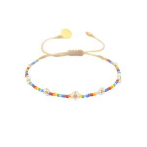 Rainbow Flower Pow Beaded Bracelet - Multi