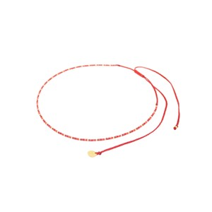 Rainbow Beaded Choker Necklace - Red
