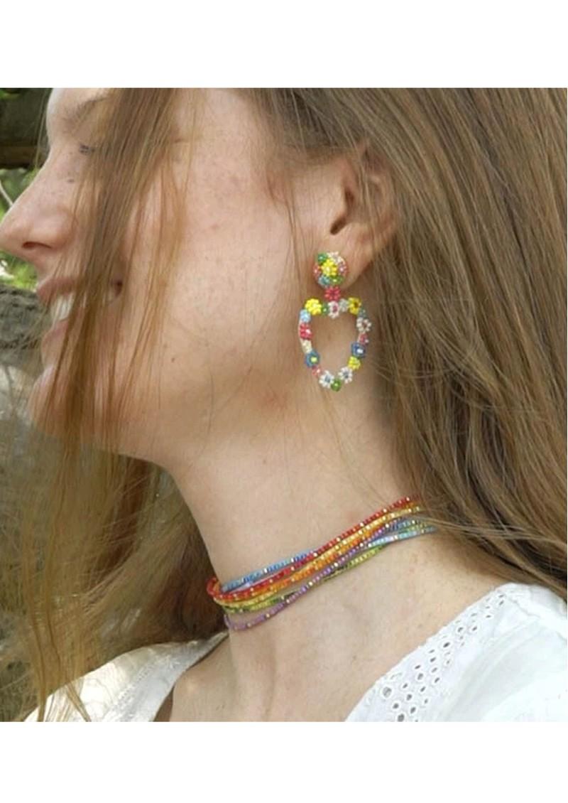 MISHKY Rainbow Beaded Choker Necklace - Light Blue main image