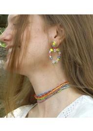 MISHKY Rainbow Beaded Choker Necklace - Dark Blue