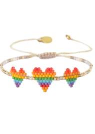 MISHKY Rainbow Triple Heartsy Beaded Bracelet - Multi
