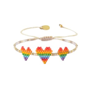Rainbow Triple Heartsy Beaded Bracelet - Multi