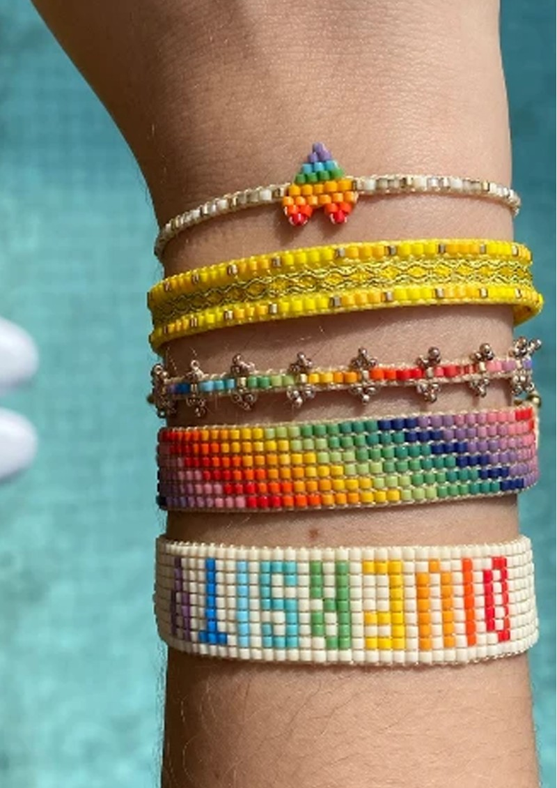 MISHKY Rainbow Triple Heartsy Beaded Bracelet - Multi main image