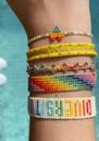 Rainbow Triple Heartsy Beaded Bracelet - Multi additional image