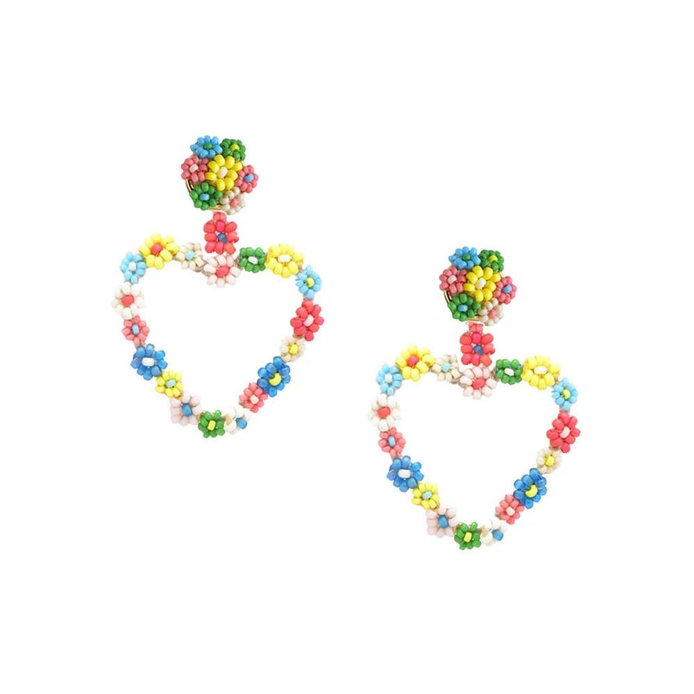 Sublime Heart Beaded Earrings - Multi