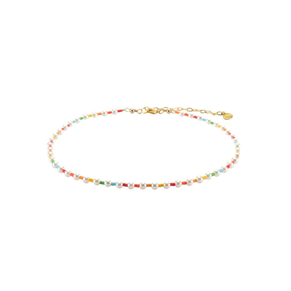 Rainbow Pearly Choker Necklace - Multi