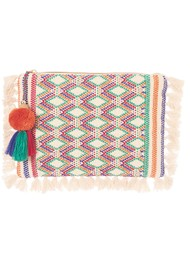M.A.B.E Cassia Embroidered Clutch - Ecru Multi