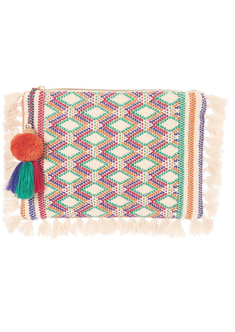 M.A.B.E Cassia Embroidered Clutch - Ecru Multi main image