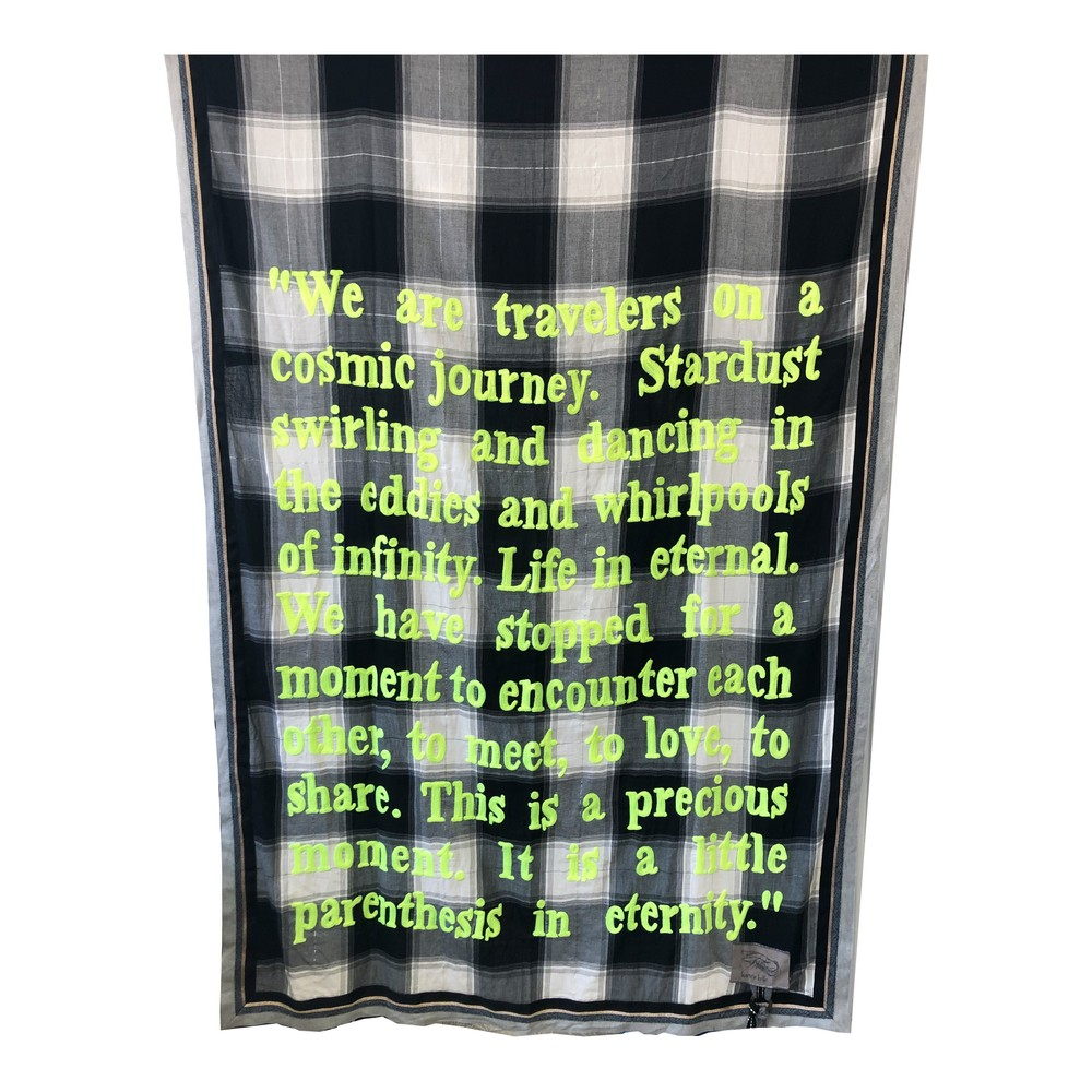 Poetry Trim Scarf - Black & Yellow