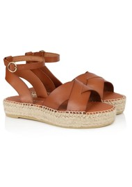 AIR & GRACE Nova Leather Espadrille Sandals - Tan