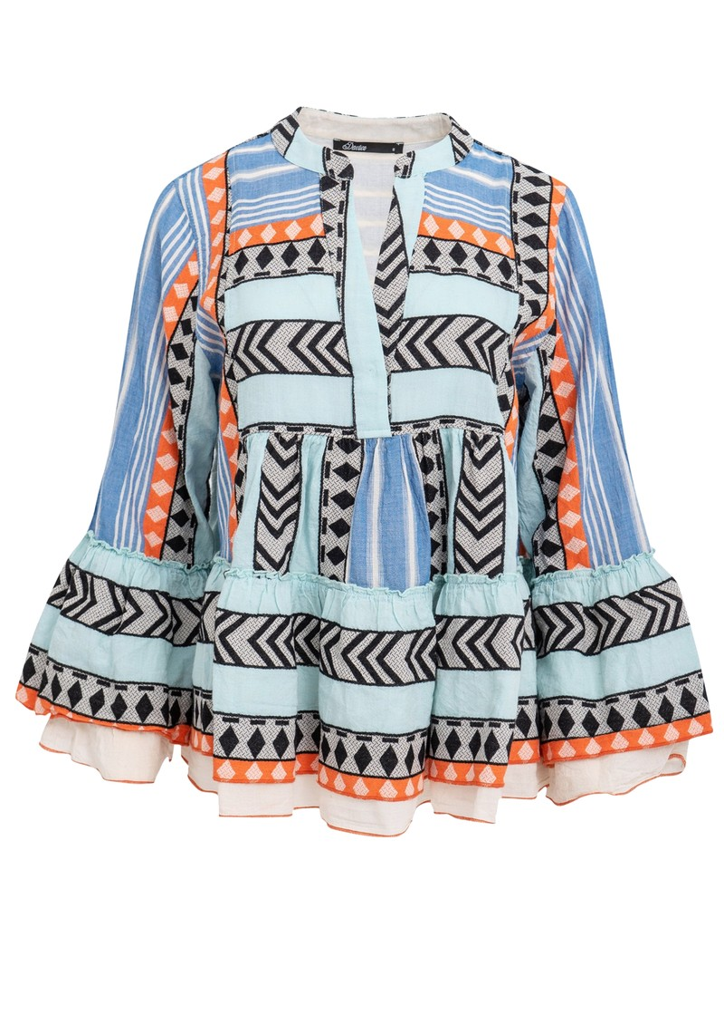 DEVOTION Zakar Embroidered Top - Blue & Orange main image