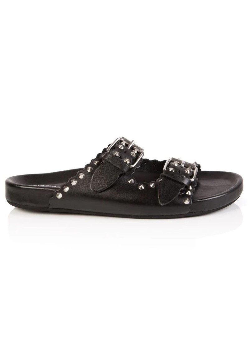AIR & GRACE Moli Studded Leather Sliders - Black main image