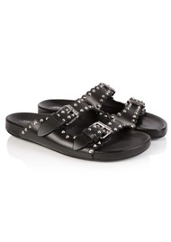 AIR & GRACE Moli Studded Leather Sliders - Black