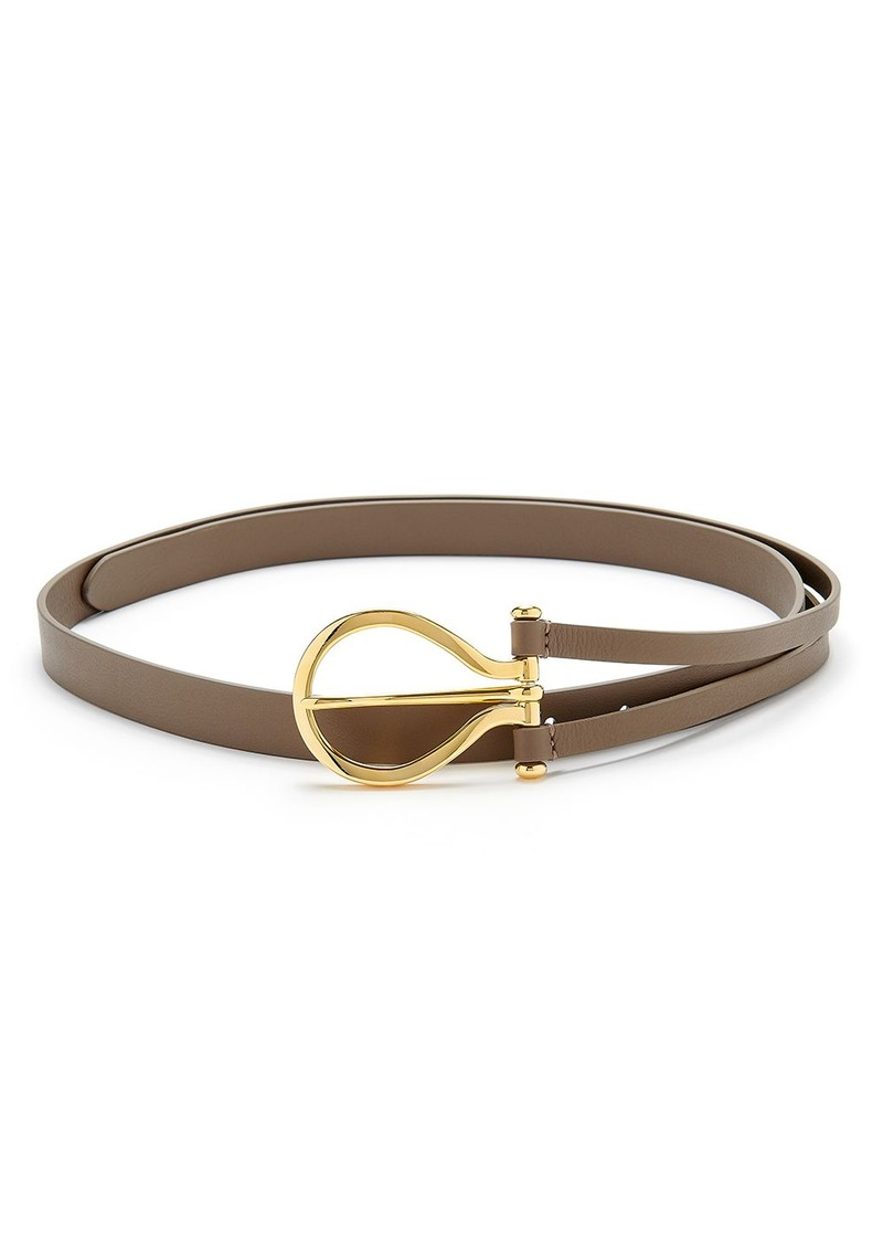 ANDERSONS Oversize Curve Buckle Leather Belt - Taupe main image