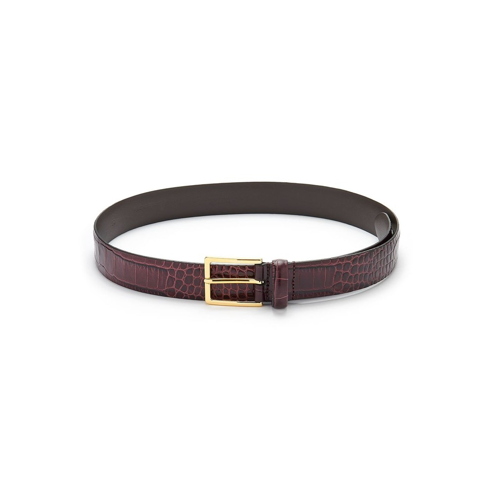 Crocodile Effect Leather Belt - Burgundy