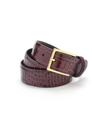 ANDERSONS Crocodile Effect Leather Belt - Burgundy