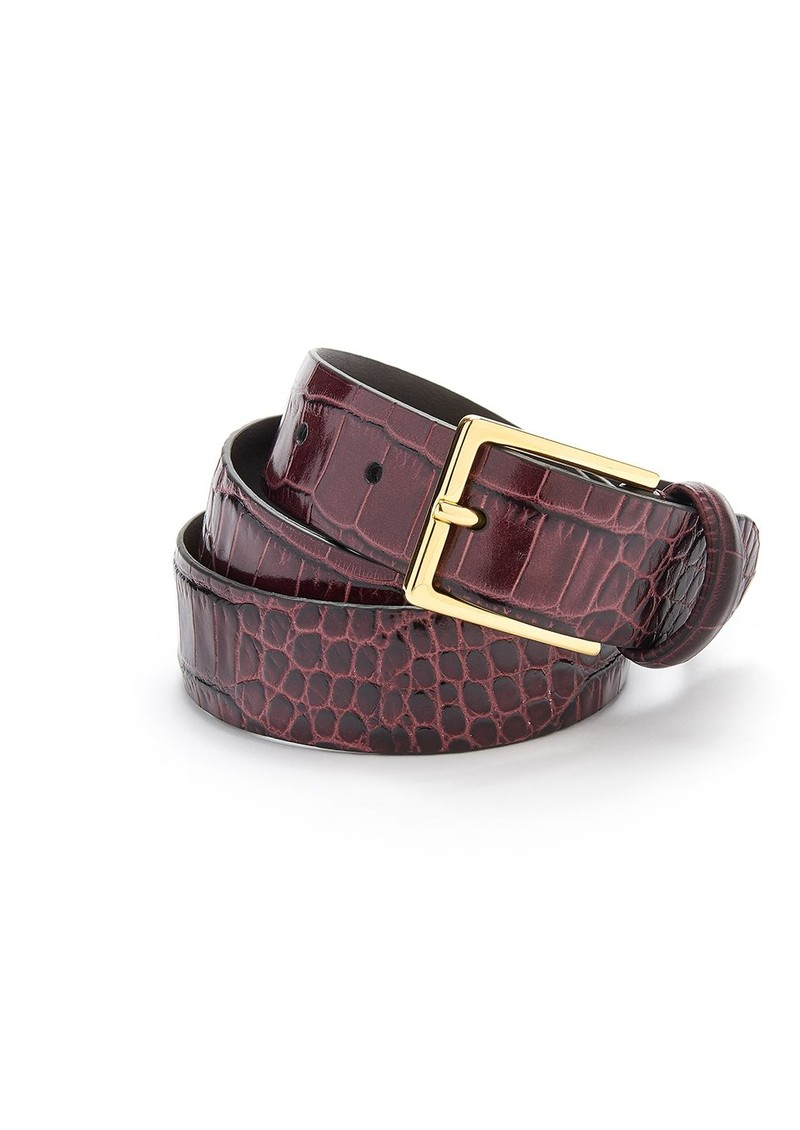 ANDERSONS Crocodile Effect Leather Belt - Burgundy main image