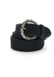 ANDERSONS Etched Buckle Leather Belt - Black