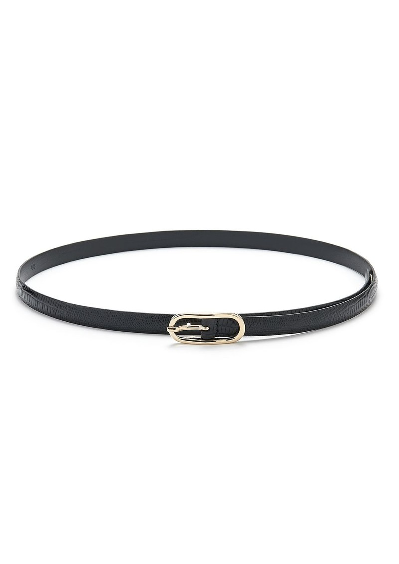 ANDERSONS Oval Buckle Skinny Leather Belt - Black main image