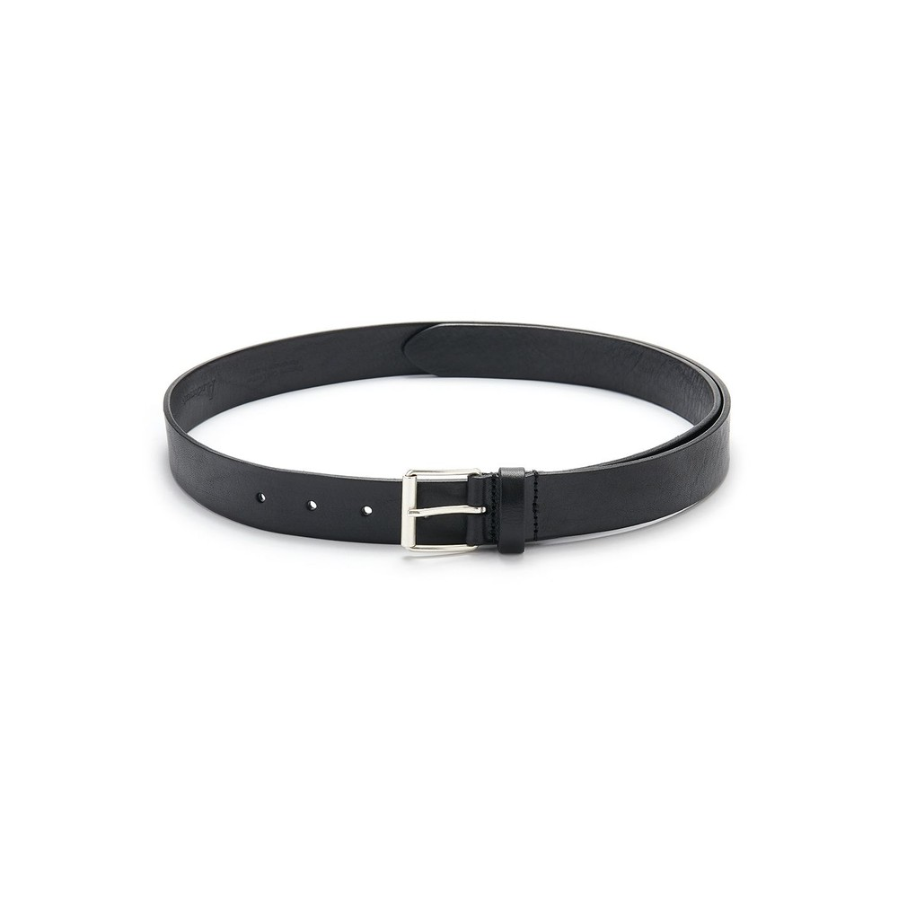 Extra Long Square Buckle Leather Belt - Black