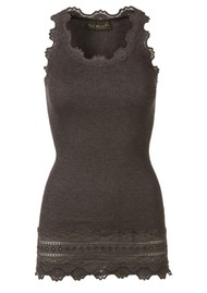 Rosemunde Wide Lace Silk Blend Tank - Dark Grey Melange