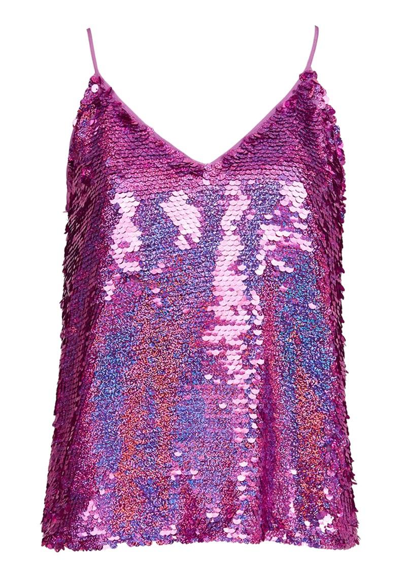 ESSENTIEL ANTWERP Wiggle Sequin Top - Rich Purple main image