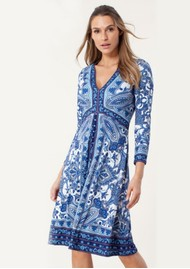 Hale Bob Matte Jersey Paisley Printed Dress - Blue