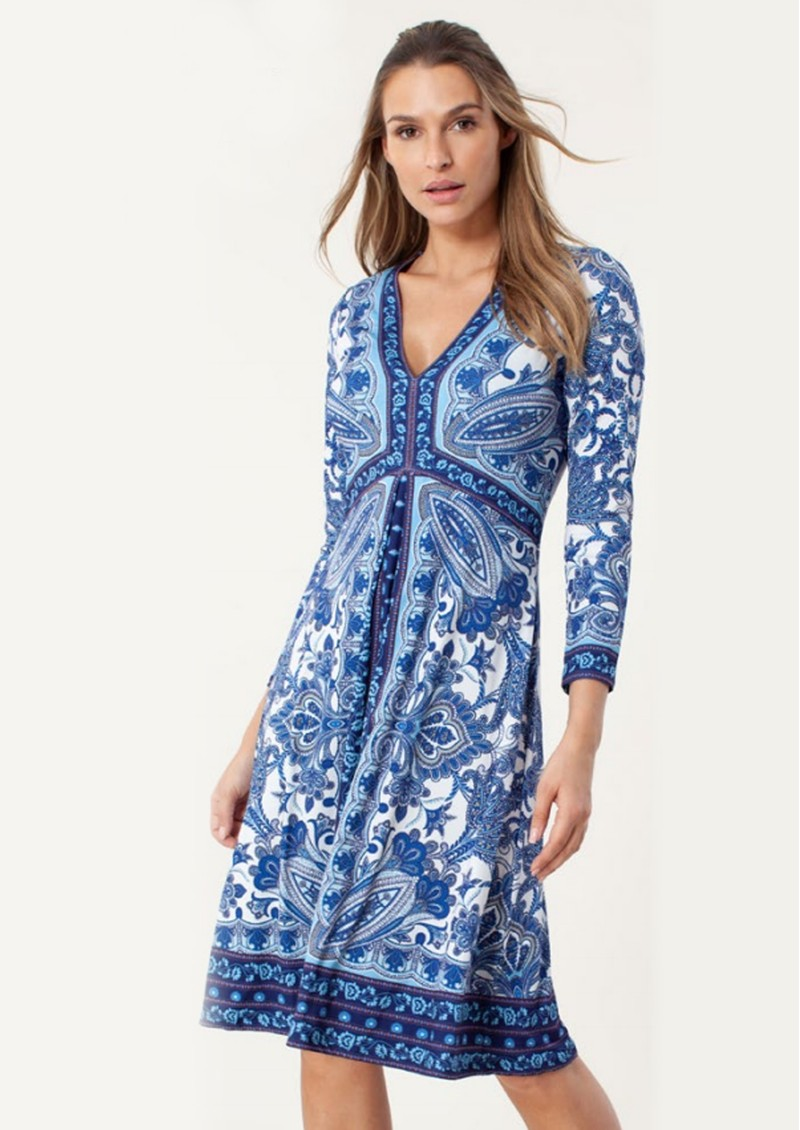 Hale Bob Matte Jersey Paisley Printed Dress - Blue main image