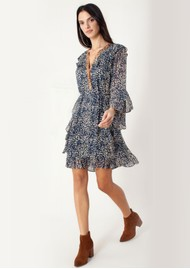 Hale Bob Animal Inspired Ruffle Dress - Navy & Ivory