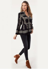Hale Bob Embroidered Blouse - Black & Bronze