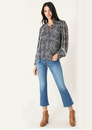 Hale Bob Animal Inspired Ruffle Blouse - Navy & Ivory