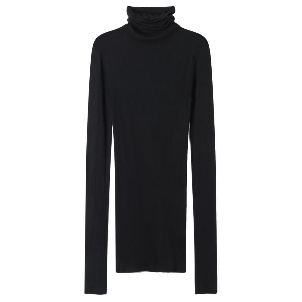 Massachusetts Long Sleeve Cotton Polo Neck Top - Black