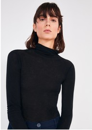 American Vintage Massachusetts Long Sleeve Cotton Polo Neck Top - Black