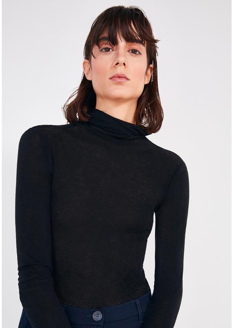 American Vintage Massachusetts Long Sleeve Cotton Polo Neck Top - Black main image