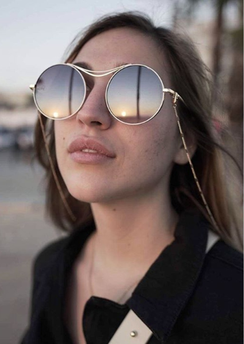 NEON HOPE Limited Edition Sulis Sunglasses with Chain - Grey & Rose Gold main image