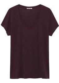 American Vintage Jacksonville U Neck Short Sleeve T-Shirt - Morello Cherry