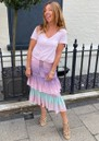 Midi Frill Silk Skirt - Ombre Crocodile Pastel additional image