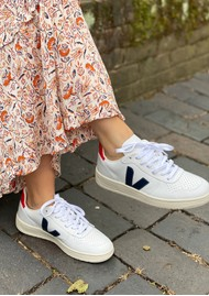 VEJA V-10 Leather Trainers - Extra White & Nautico Pekin