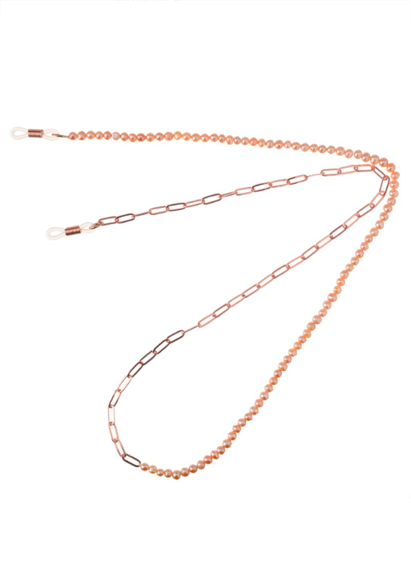 TALIS CHAINS Rose Pearl and Chain Glasses Chain - Rose Gold main image