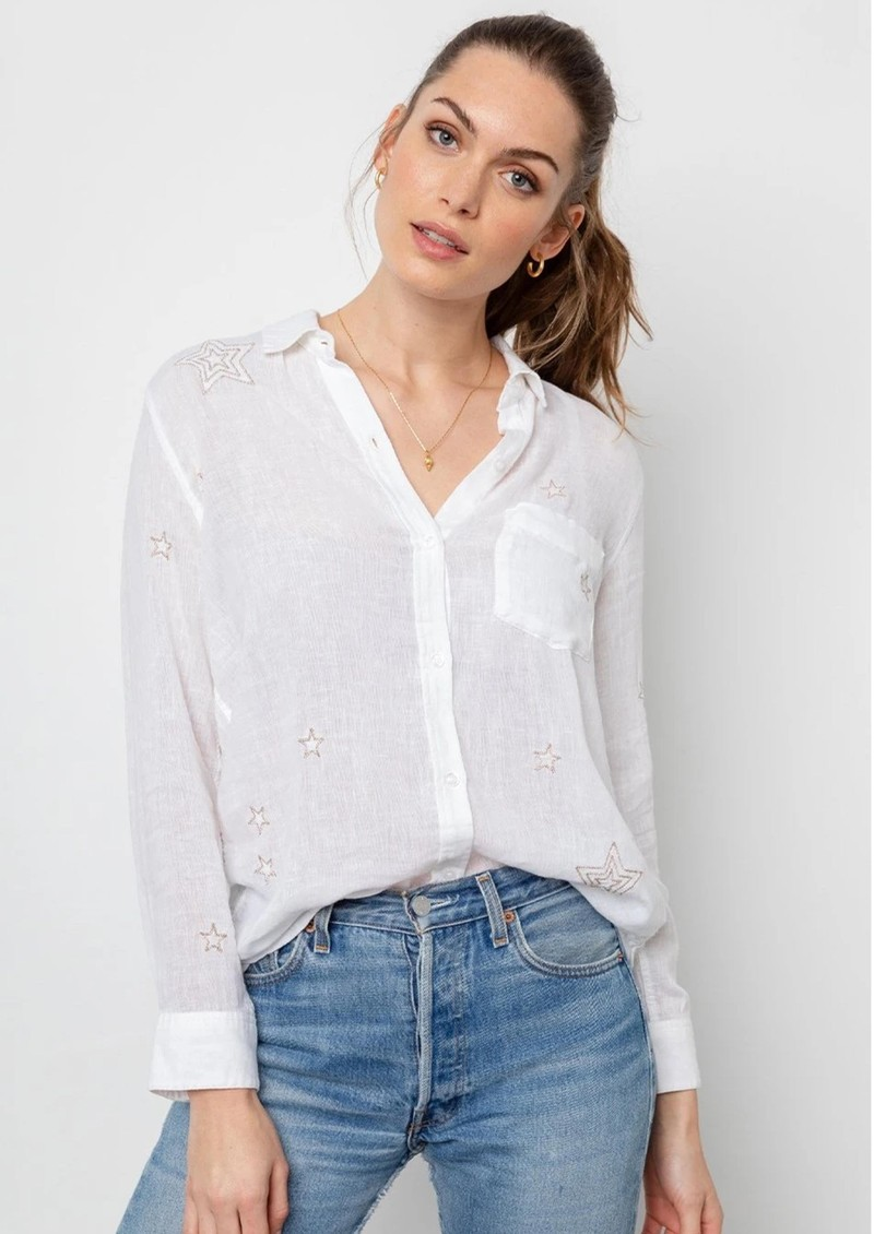 Charli Linen Mix Shirt - Metallic Stars main image