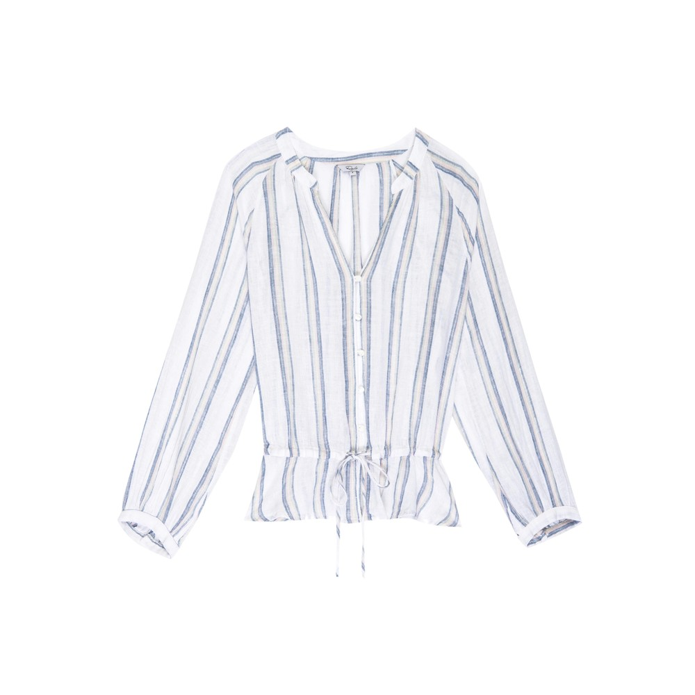 Marti Linen Mix Blouse - Ryland Stripe